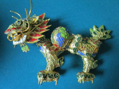 CLOISONNE CHINESE PAPERWEIGHT FIGURINES SILK BOX  GOLDEN DRAGON DINOSAUR PICK1