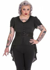 4XL-NEW-PLUS-SIZE-BLACK-STAR-MOON-BLOUSE-LONG-TOP-22-SHEER-STEAMPUNK-LACE-GOTH