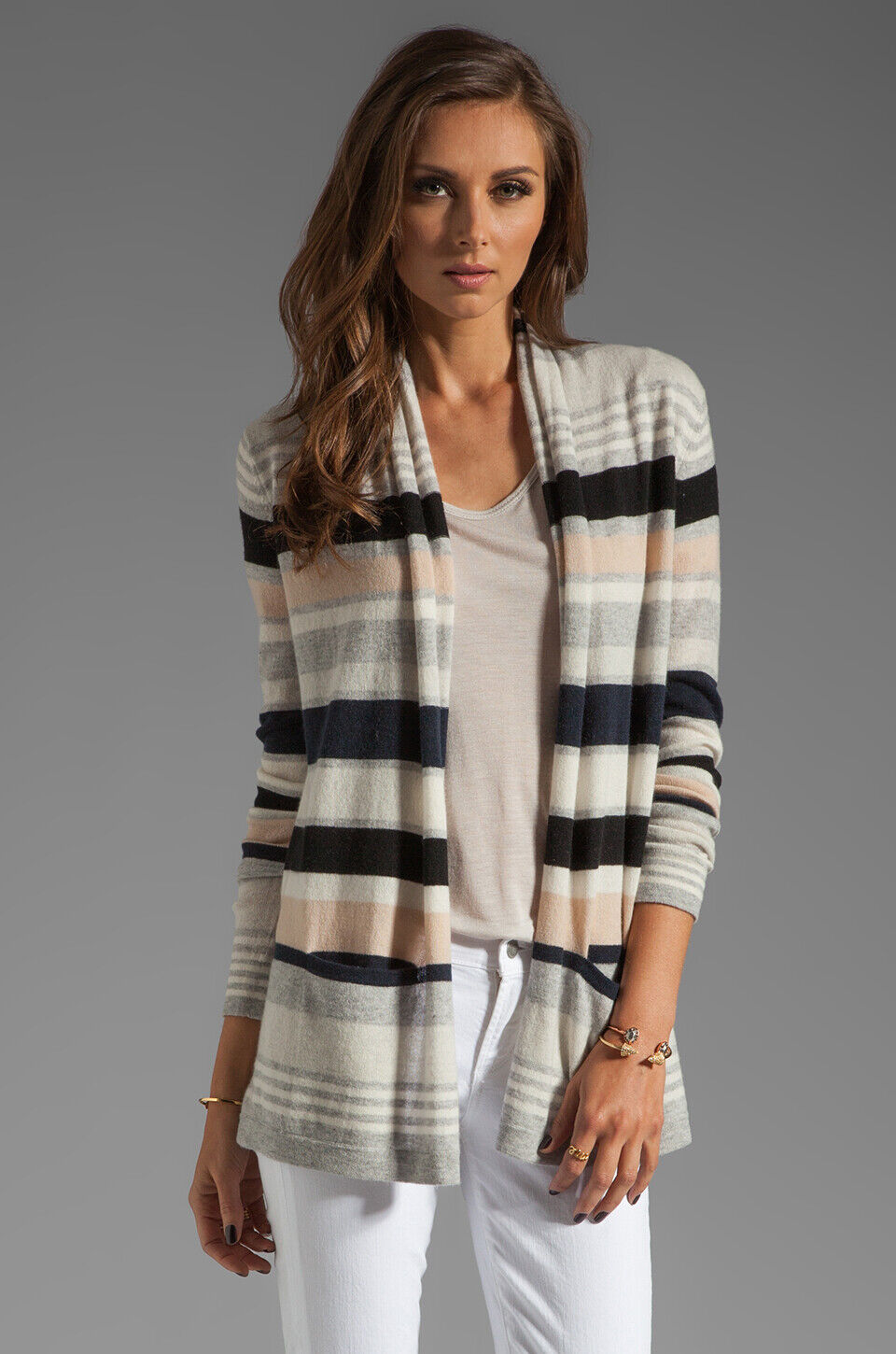NEW Autumn Cashmere Multi Stripe Drape Sweater in Neutral Combo- Size M
