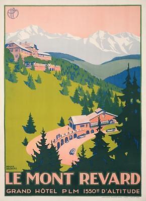ROGER BRODERS MONT REVARD ORIGINAL 1927 VINTAGE FRENCH POSTER SKI MOUNTAIN