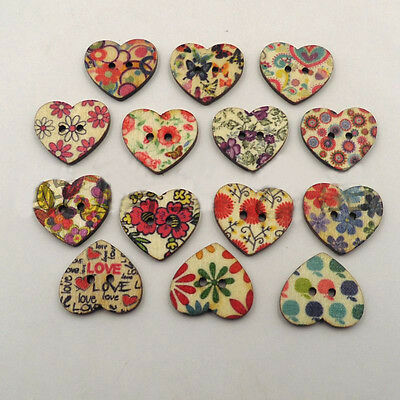 Mini 100Pcs Mixed Color 2Holes Creative Heart Pattern Wood Buttons Sewing Supply