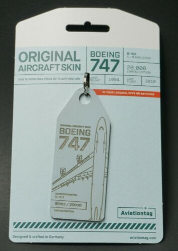 B-HUI Aviationtag Aircraft fuselage Keychain 747 Reg