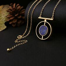 Fashion Chic Blue Round Stone Pendant Necklace Women Accessories Jewelry