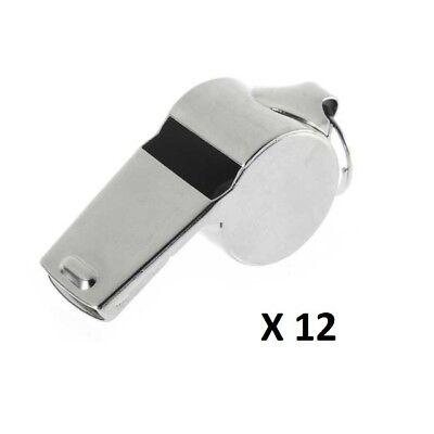Champion Sports Metal Whistle /& Black Lanyard 12-Pack