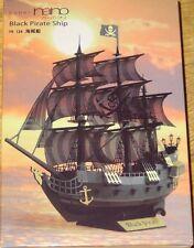 Black Pirate Ship Paper Nano Kawada Laser Cut Paper Model Kit PN124