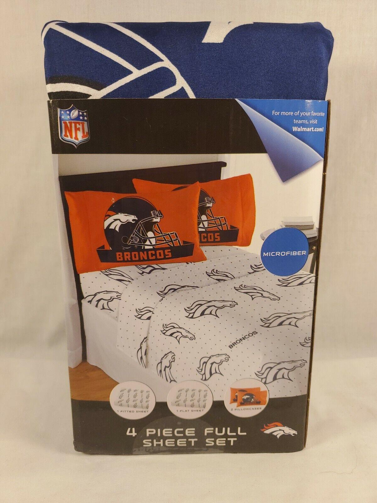 Denver Bronco 4 Piece Full Bed Sheet Set