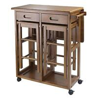 Dining Folding Table Set Rolling Space Saver 2 Stools Kitchen Chairs