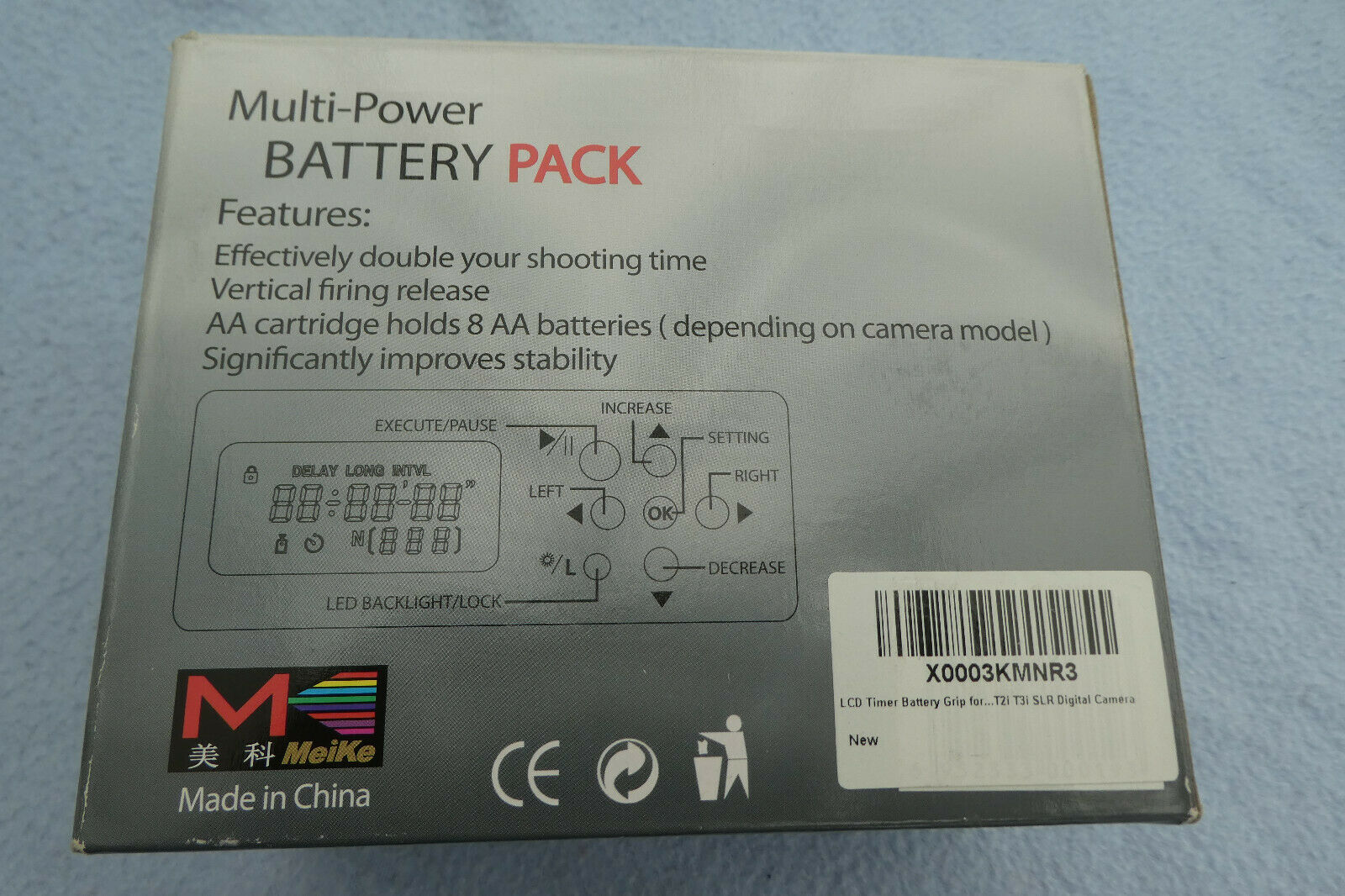 NEW Boxed Meike Multi Power Pack Battery Grip Canon 550D EOS Camera