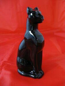 Retired Baccarat Black Egyptian Crystal Cat Figurine