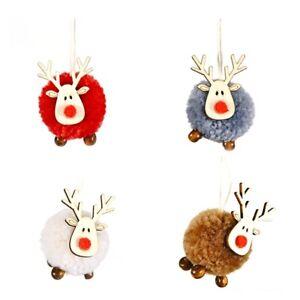 4-PACK-Niedlich-Filz-Holz-Elch-Weihnachts-Baum-Dekorationen-HaeNgen-AnhaeNger-S8U7