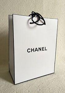 4076ab2e455a Chanel Large White & Black Logo Paper Bag Wrapping Black Ribbon Gift ...