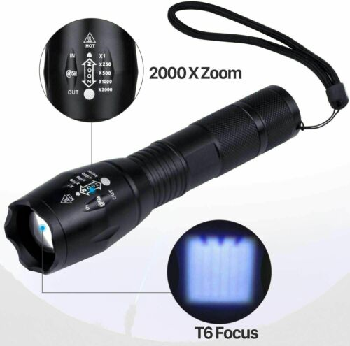 4 Pack super Bright Tactical Flashlight LED 5 Modes Zoomable Searchlight Torch