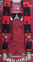 Suspenders Children & Junior 1x36 Fully Elastic Harley Quinn Made In Usa