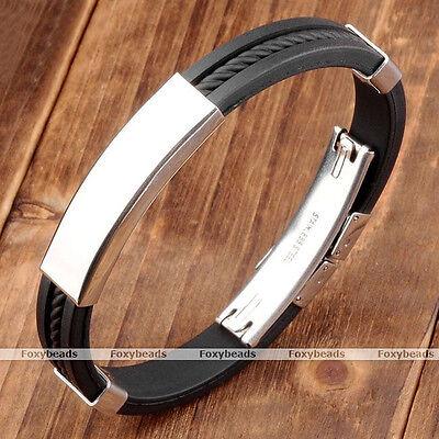 "1pc Men's Stainless Steel Black Rubber Bracelet Cuff Wristband 8""L Biker Gift"