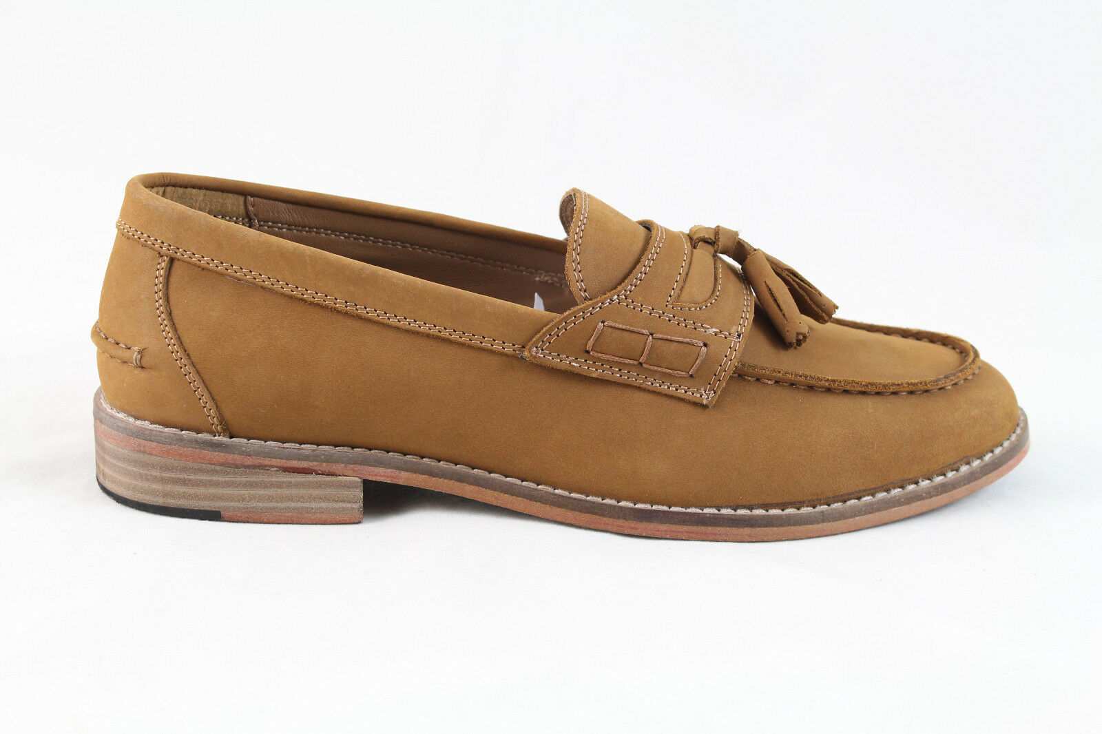 Justin Reece Mens Leather Morris Tassel Loafers Shoes Tan Camel Various Sizes