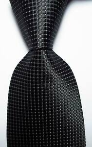 New-Classic-Checks-Black-White-JACQUARD-WOVEN-100-Silk-Men-039-s-Tie-Necktie