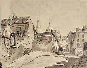 PARIS RUE. AQUARELLE SUR PAPIER. FRANCE. A. GUERIN. CIRCA 1940.