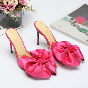Womens-Satin-Bowknot-Pointed-Toe-High-Heels-Mules-Slippers-Stilettos-Prom-Shoes