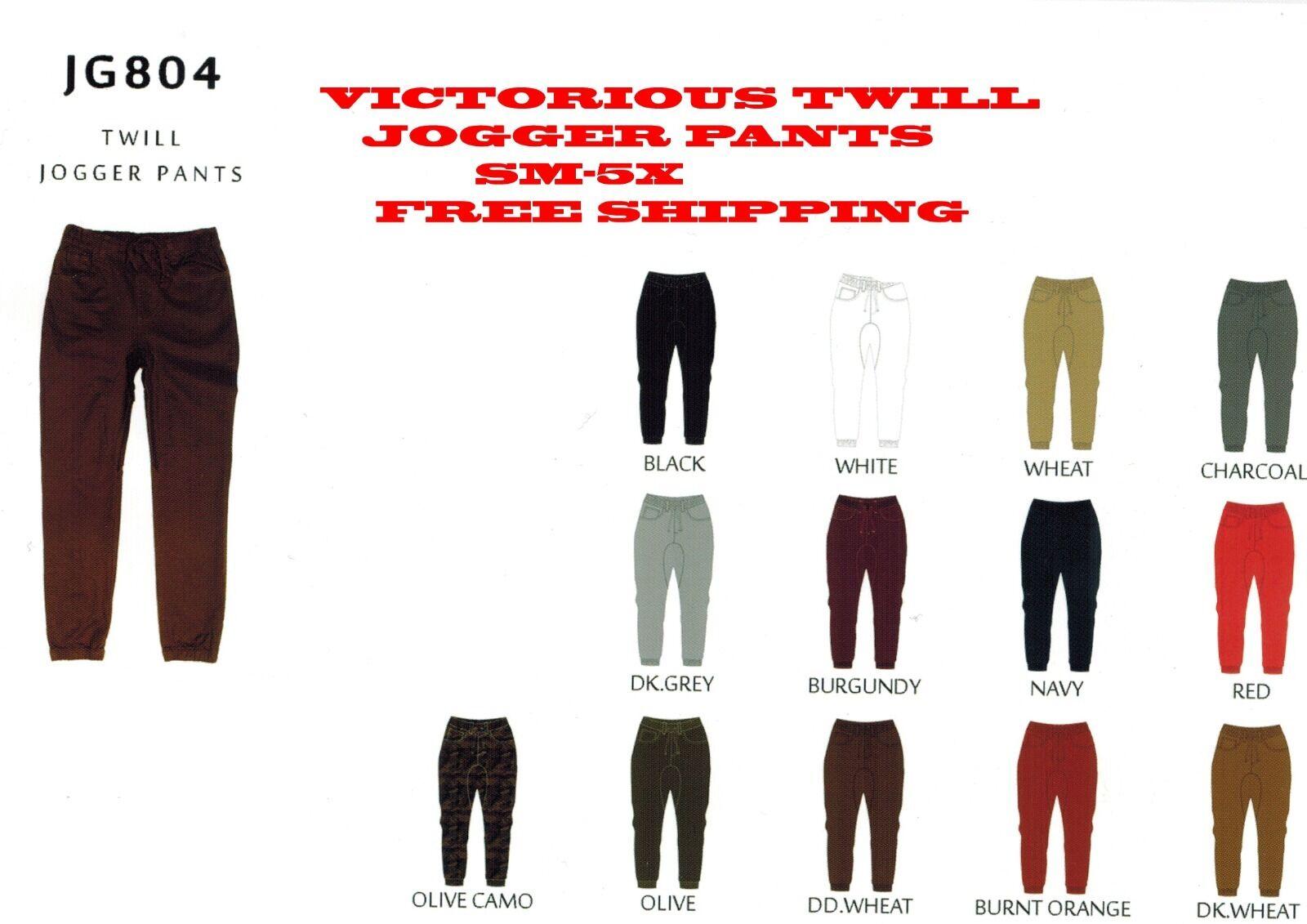 Victorious Mens Twill Jogger Pants Drop Credch JG804 Free Shipping