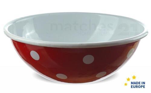 Email Coque//Bol à céréales rouge à pois tendance EMAILLE vaisselle 17x7 cm