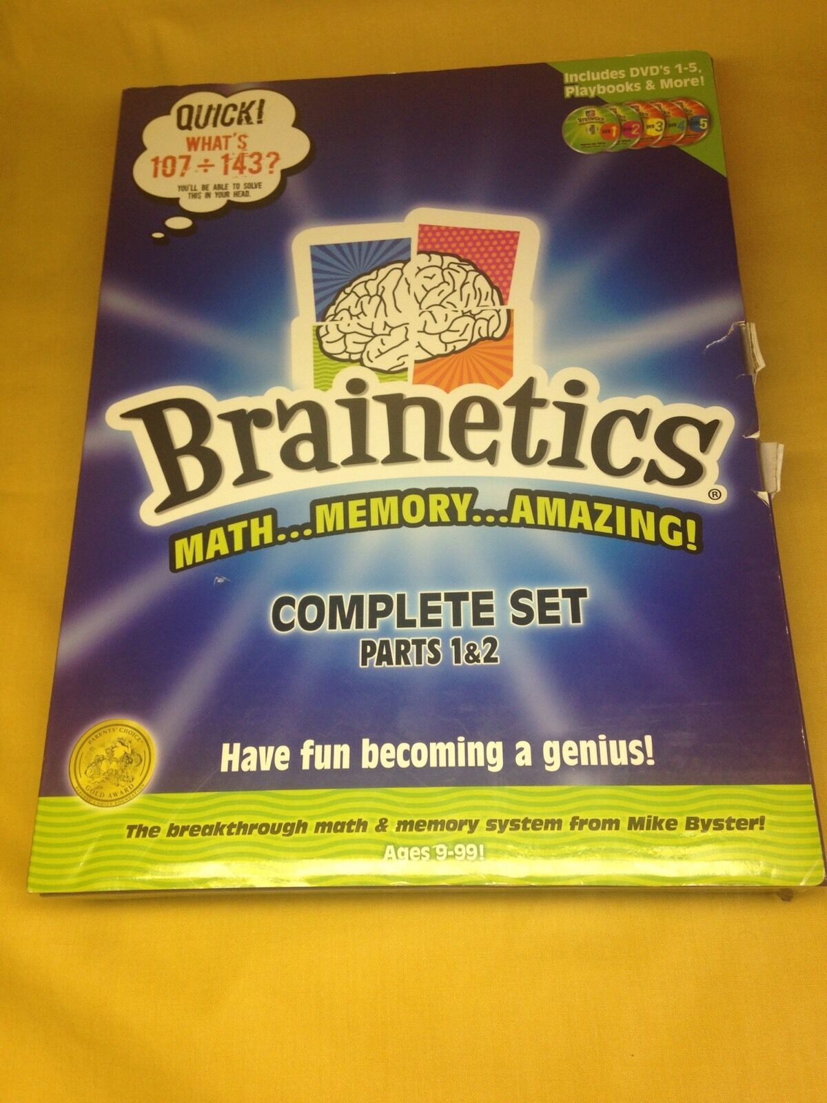 BRAINETICS Complete Set Parts 1 & 2 + Challenge Game Math Memory 9-99 Boys&Girls