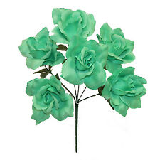7 open roses mint green wedding bridal bouquet soft silk flowers 6 open roses mint green soft touch decor silk wedding flowers bridal bouquets mightylinksfo Choice Image