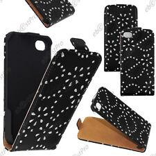 Housse Coque Etui PU cuir à rabat fine (SLIM case) avec STRASS Noir iPhone 4S 4