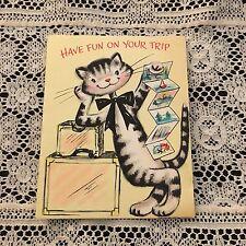 Vintage Greeting Card Trip Cute Cat Luggage Hallmark
