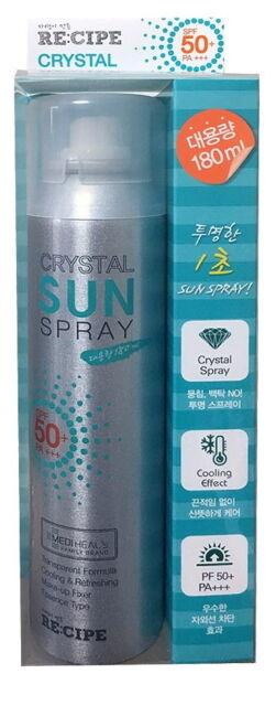 180ml Re:Cipe Crystal Sun Spray Face&Body Sunscreen SPF50+/PA+++ protects UVA/B