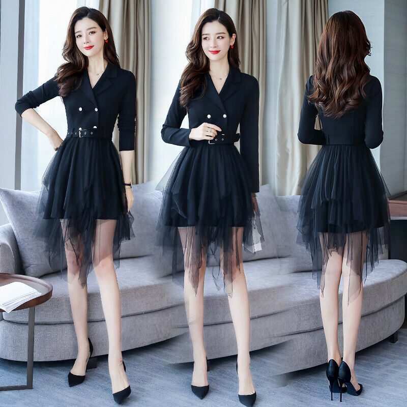 Women Long Sleeve Belt Mesh Skirt Lapel Ladies Long Shirt Mini Dress Slim Muk15