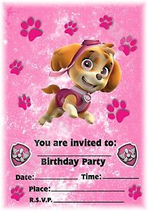 A5 nick jr childrens party invitations x 12 paw patrol skye pink a5 nick jr childrens party invitations x 12 filmwisefo