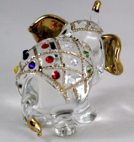 Elephant Ornament Figurine Animal Hand Blown Glass Handmade Craft Hand Paint  2