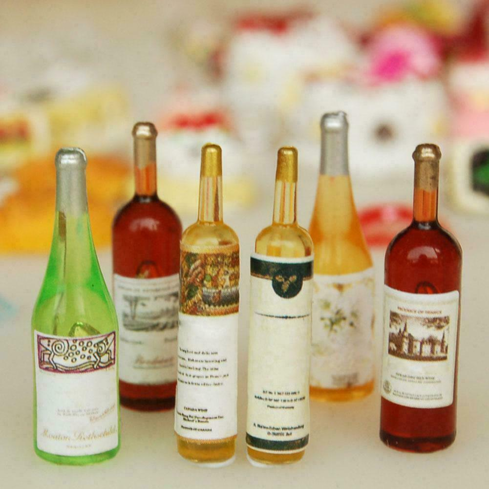 6Pcs//Set Mini Whiskey Model For 1:12 Miniature Dollhouse Kitchen Decor Pro DIY``