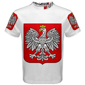 New Poland Coat of Arms Sublimated Mens Sport Mesh Tee t shirt Free Shipping