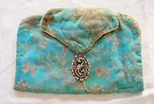VINTAGE 1940's CHINESE BLUE RED & YELLOW BROCADE CLUTCH PURSE