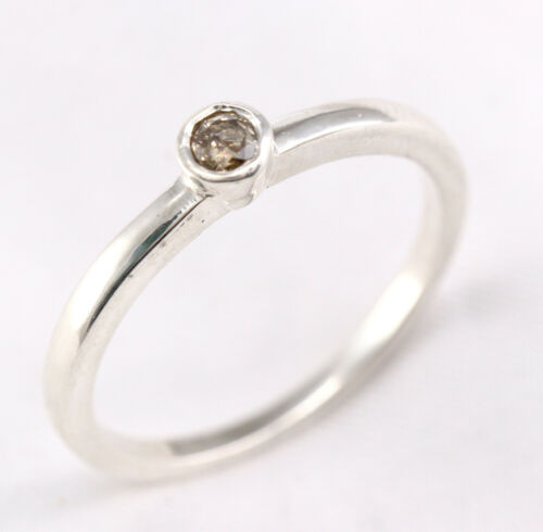0.11 Ct Diamant Naturel 925 Sterling Silver Band Ring
