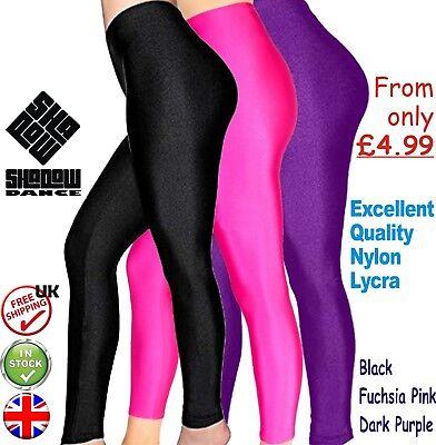 Girls Children Kids Stirrup Shiny Leggings Dance Gymnastics Nylon Lycra
