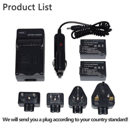 Wall//Car Charger DMW-BMB9E for Panasonic DC-FZ82 DMC-FZ150 DMC-FZ48 2XBattery
