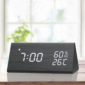 Digital Alarm Clock, with Wooden Electronic LED Time Display, 3 Alarm Settings