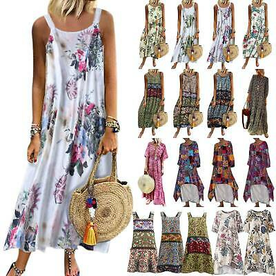 Plus Size Women Strappy Floral Summer Holiday Party Evening Irregular Maxi Dress