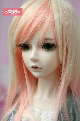 "BJD Doll Hair Wig 7-8"" 1/4 Pale gold & pink  SD DZ DOD LUTS E40"