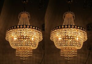 A-Pair-Antique-Vnt-Austrian-amp-Real-Swarovski-Crystal-Chandelier-Lamp-1950s-16in