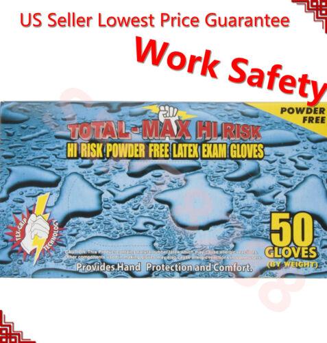 Emerald Total Max Hi Risk Powder Free Latex Exam Blue Glove 50 Count per Box