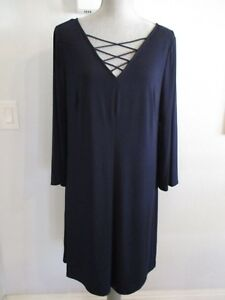 NWT-JESSICA-HOWARD-SIZE-14-or-16-NAVY-DRESS-WITH-BELL-SLEEVES-amp-LACED-V-NECKLINE