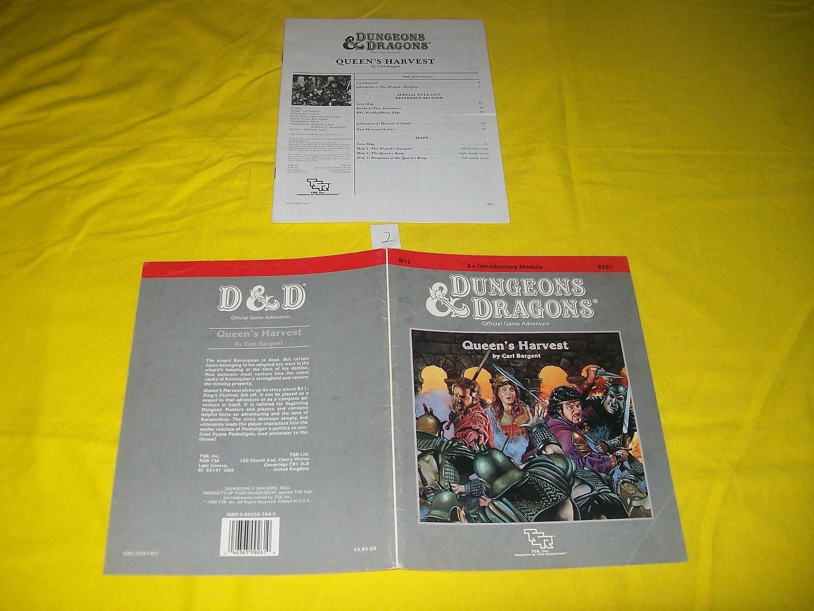 B12 QUEEN'S HARVEST DUNGEONS & DRAGONS TSR 9261 2 MODULE