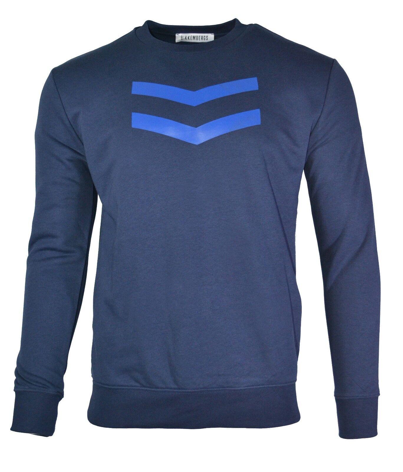 60% OFF   BIKKEMBERGS SWEATSHIRT CHEVRON LOGO TOP Blau C600201M3809Y91 RARE