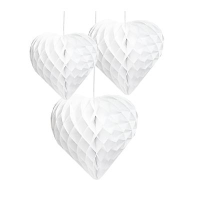 Herz Wabenbälle Honeycombs weiß 3tlg. 30/25/20 cm - Hochzeit Hochzeitsdekoration