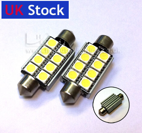 2x Festoon 42mm 10x42 C10W SV8,5 8-SMD LED CAN-BUS bulb