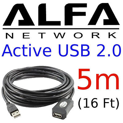 ALFA 5m 16 feet USB Repeater Extension Cable MALE//FEMALE made for AWUS036NHR