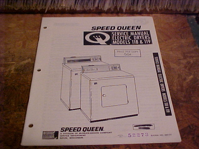 Speed Queen 1964 Dryer Service Manual Elect No 118  119